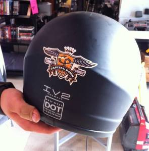 A customer demonstrates his loyalty by wearing our logo on his helmet!