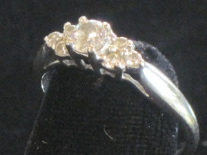 E) 14k white gold ring Glass stones (NOT diamonds) Size: Weight (includes stones):