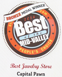 Capital Pawn was awarded the Bronze Medal for Best Jewelry Store 2014